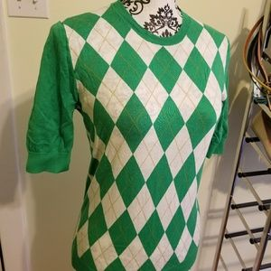 J. Crew M Green/White Argyle Sweater